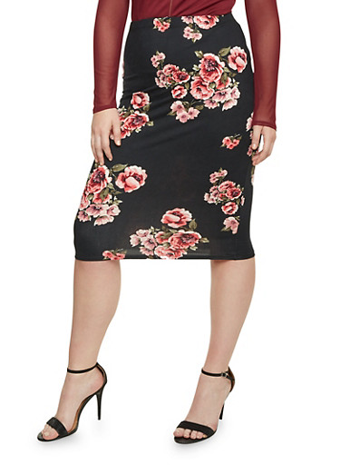 Plus Size Midi Pencil Skirt in Floral Print,BLACK,large