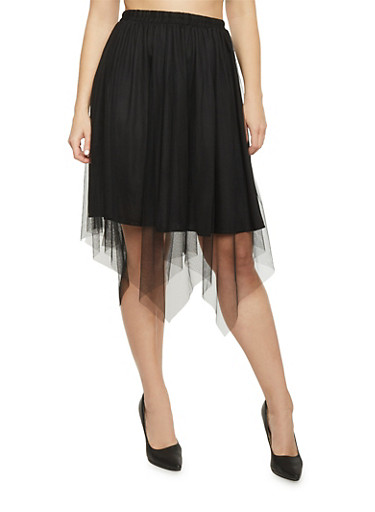 Plus Size Mesh Midi Skirt,BLACK,large