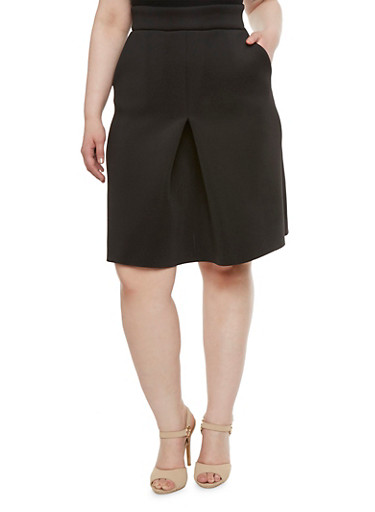 Plus Size Techno Skirt with Center Pleat,BLACK,large
