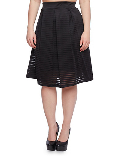Plus Size Flared Skirt with Pleats,BLACK,large