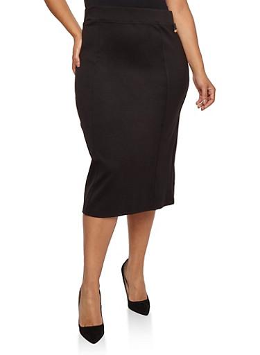 Plus Size Ponte Knit Pencil Skirt,BLACK,large
