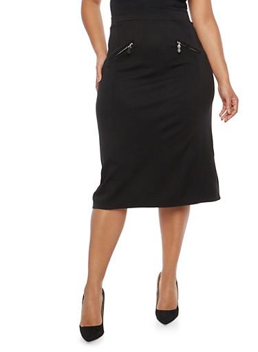 Plus Size Ponte Pencil Skirt with Zip Accents,BLACK,large