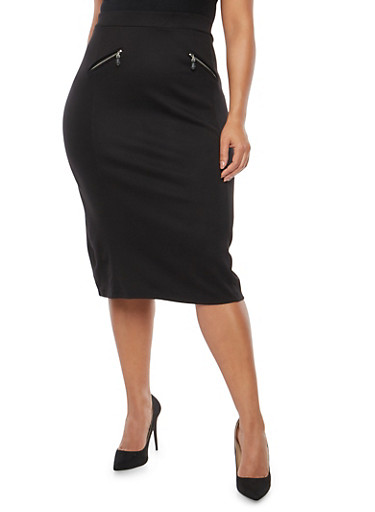 Plus Size Ponte Pencil Skirt,BLACK,large