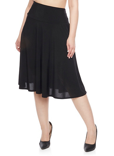 Plus Size High Waist Circle Knit Skirt,BLACK,large