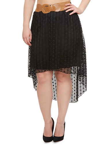 Plus Size High Low Skirt with Layered Lace and Chunky Belt,BLACK,large