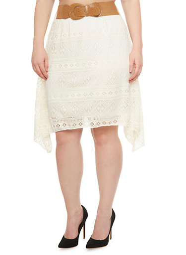 Plus Lined Lace Skirt with Shark Bite Hem and Belt,IVORY,large