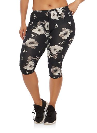 Plus Size Floral Caged Cropped Leggings,BLACK,large