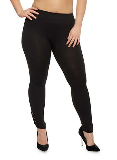 Plus Size Leggings with Lattice Hem,BLACK,large