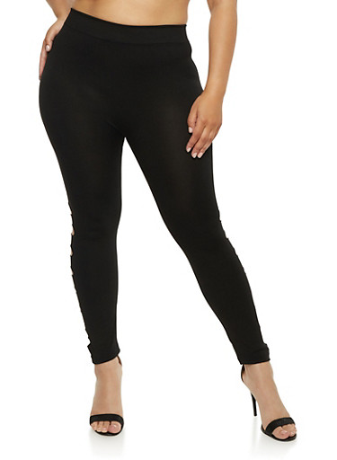 Plus Size Leggings with Laser Cut Sides,BLACK,large