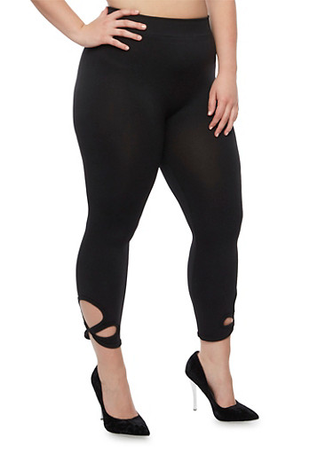 Plus Size Solid Leggings with Criss Cross Cutout,BLACK,large