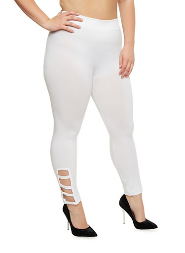 Plus Size Leggings with Lattice Detail,WHITE,large