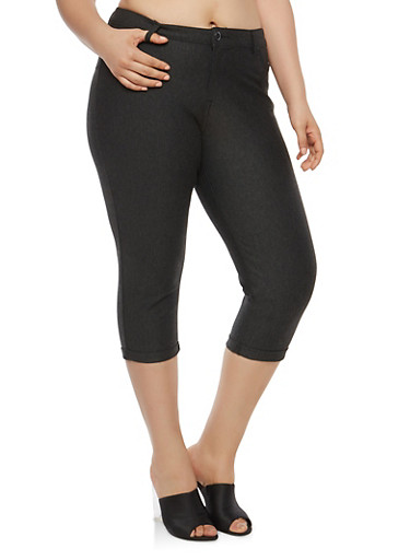 Plus Size Ponte Capri Pants,CHARCOAL,large