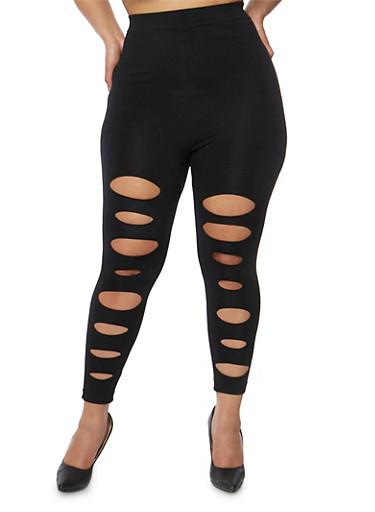 Plus Size Lasercut Front Leggings,BLACK,large