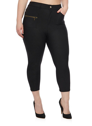 Plus Size Cropped Jeggings with Zip Pockets,BLACK,large