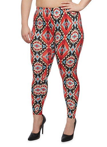 Plus Size Aztec Print Leggings,RED,large