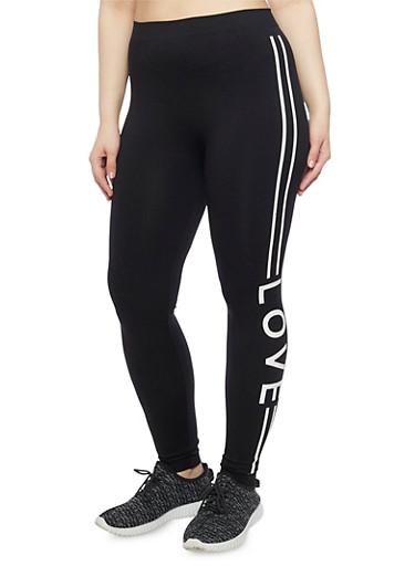 Plus Size Love Graphic Varsity Stripe Activewear Leggings,BLACK,large