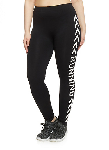 Plus Size Running Graphic Activewear Leggings,BLACK,large