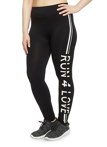 Plus Size Activewear Leggings with Run 4 Love Graphic,BLACK,large