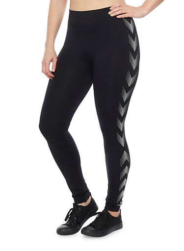 Plus Size Arrow Graphic Activewear Leggings,BLACK,large