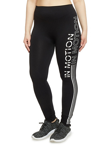 Plus Size In Motion Graphic Activewear Leggings,BLACK,large