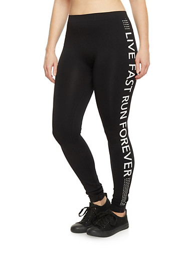 Plus Size Live Fast Run Forever Athletic Leggings,BLACK,large