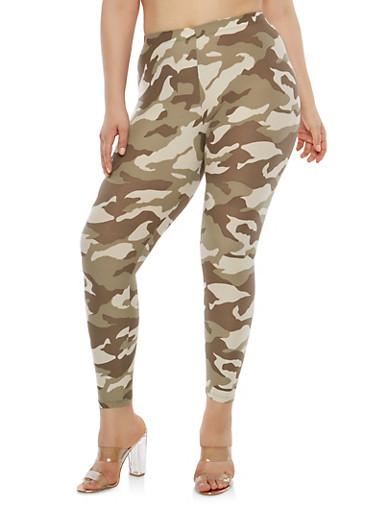 Plus Size Camo Leggings,OLIVE,large