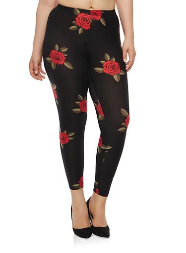 Plus Size Rose Print Leggings,BLACK/RED,large