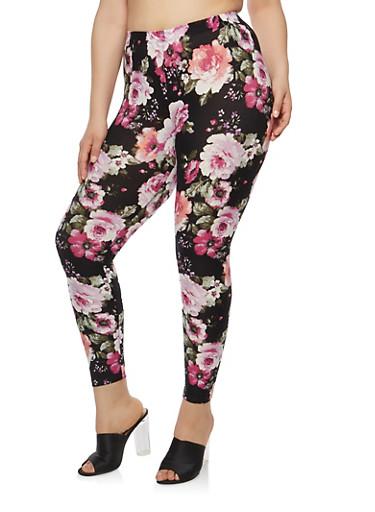 Plus Size Floral Soft Knit Leggings,BLACK PRT,large