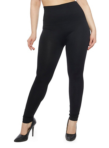 Plus Size Fleece Lining Leggings,BLACK,large