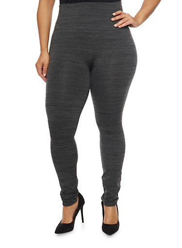 Plus Size Fleece Space Dye Leggings,CHARCOAL,large