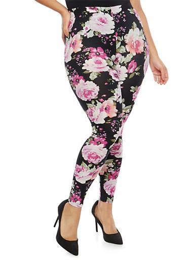 Plus Size Soft Knit Floral Leggings,BLACK-COMBO,large