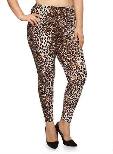 Plus Size Leopard Print Leggings,TAN,large