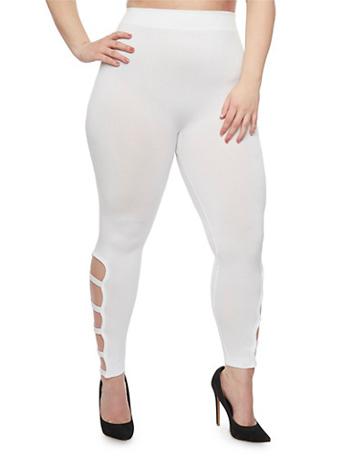 Plus Size Solid Leggings with Caged Accent,WHITE,large
