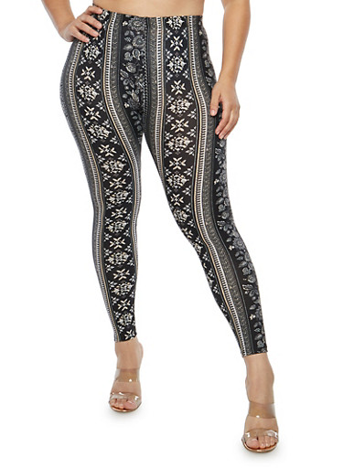 Plus Size Soft Knit Border Print Leggings,BLACK,large