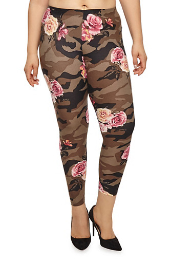 Plus Size Camo Floral Leggings,OLIVE,large