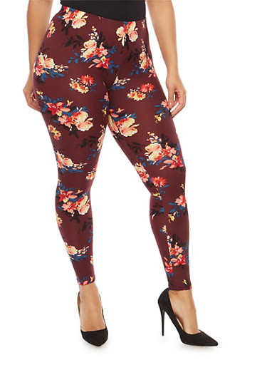 Plus Size Floral Leggings,WINE,large