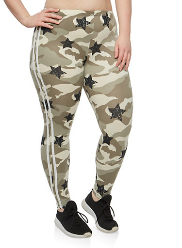 Plus Size Camo Star Print Leggings,SAGE,large