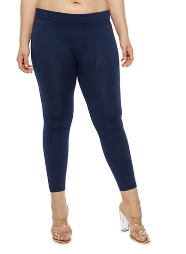 Plus Size Fleece Lined Leggings,NAVY,large
