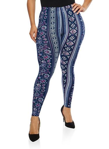 Plus Size Soft Knit Border Print Leggings,NAVY,large