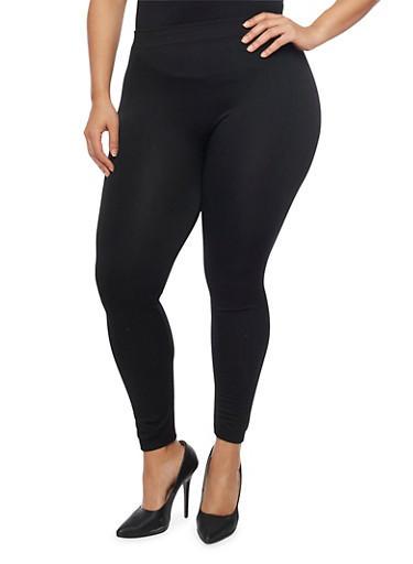 Plus Size Fleece Leggings,BLACK,large