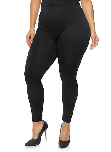 Plus Size Brushed Knit Leggings,BLACK,large