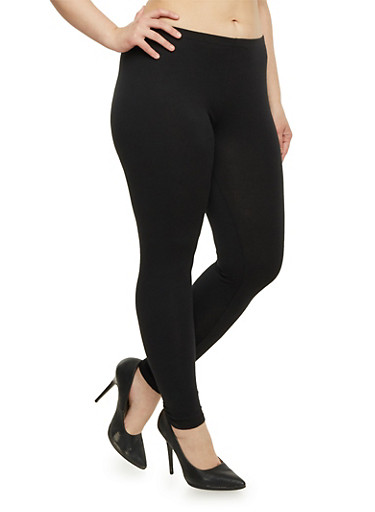Plus Size Lightweight Leggings,BLACK,large