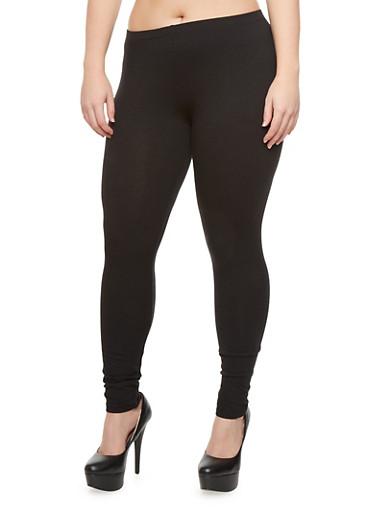 Plus Size Solid Soft Knit Leggings,BLACK,large