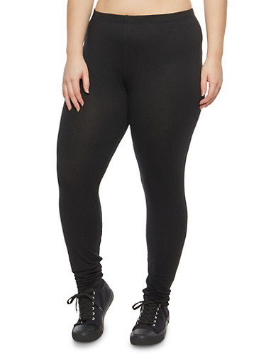 Plus Size Basic Black Leggings,BLACK,large
