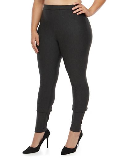 Plus Size Ponte Push Up Pants,GRAY,large