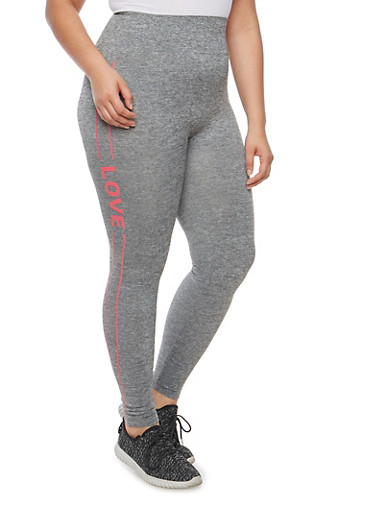 Plus Size Love Graphic Front Seam Leggings,GRAY,large