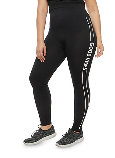 Plus Size Good Vibes Graphic Leggings,BLACK,large