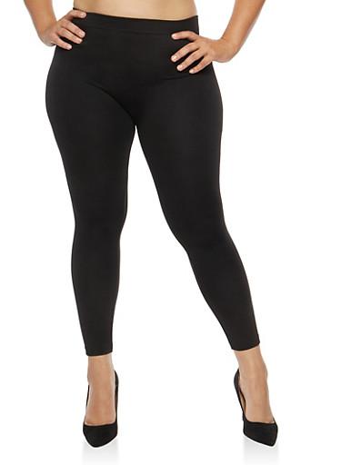 Plus Size Black Fleece Lined Leggings,BLACK,large