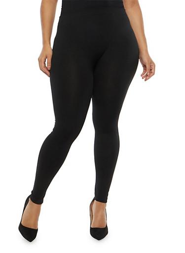 Plus Size Soft Knit Fleece Lined Leggings,BLACK,large