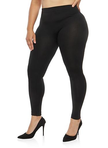 Plus Size Fleece Lined Leggings,BLACK,large